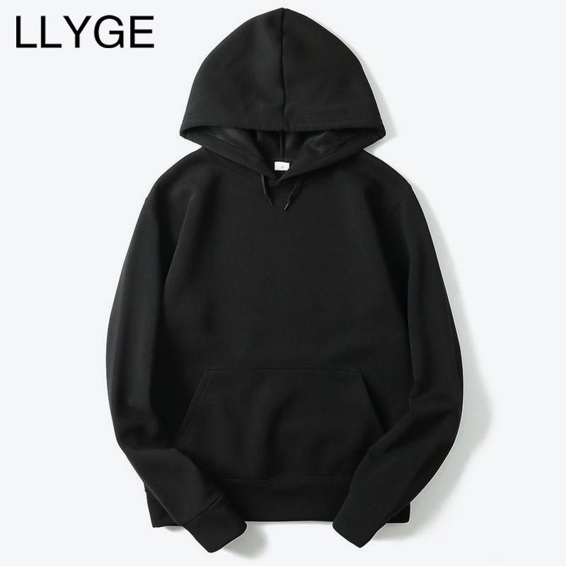 LLYGE 2018 Yeni Erkekler Rahat Hoodies Streetwear Hip Hop Temel Katı Erkek Kapşonlu Tişörtü Hoody Sonbahar Mens Hoodies Dropshipping
