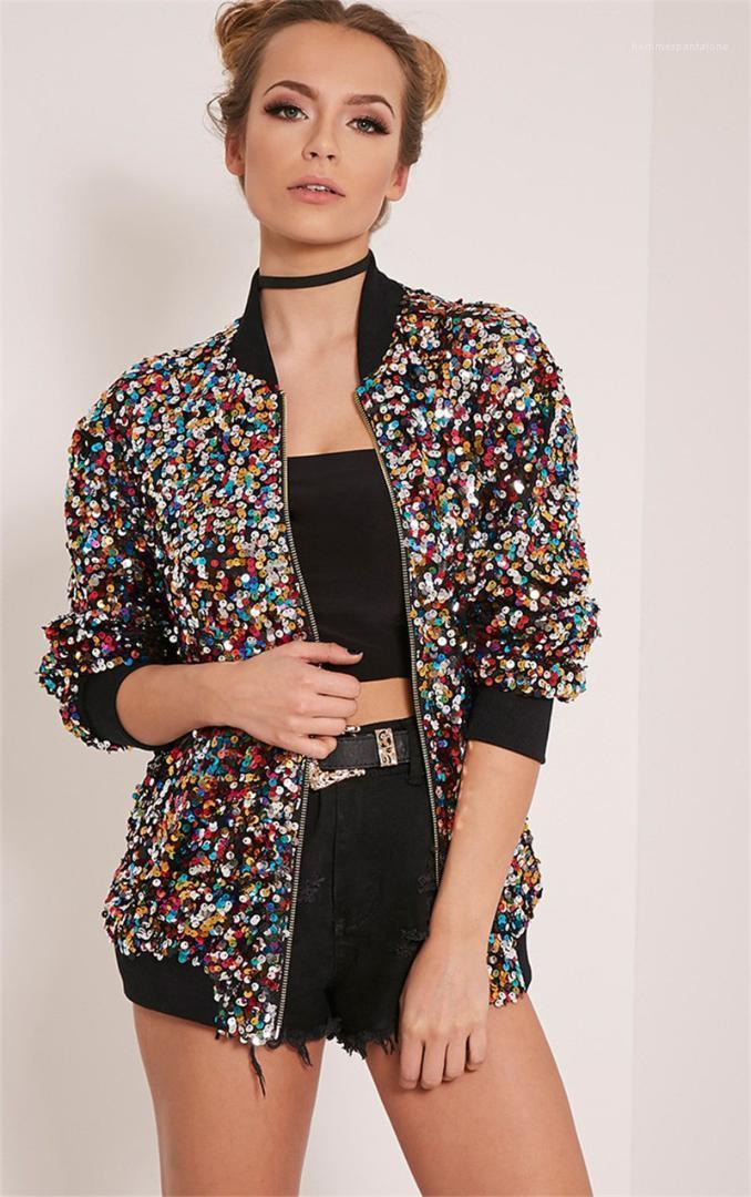 Herbst Frühling lose Pilotenjacke Damenmode Damen Designer Pailletten-Jacke Art und Weise beiläufige