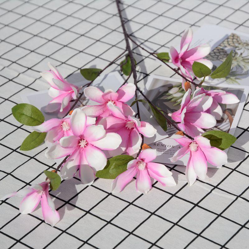 5 pcs/lot 70cm Artificial magnolia silk Flower living room home decoration wedding road lead decorative Accessories fake flowers diy wreath