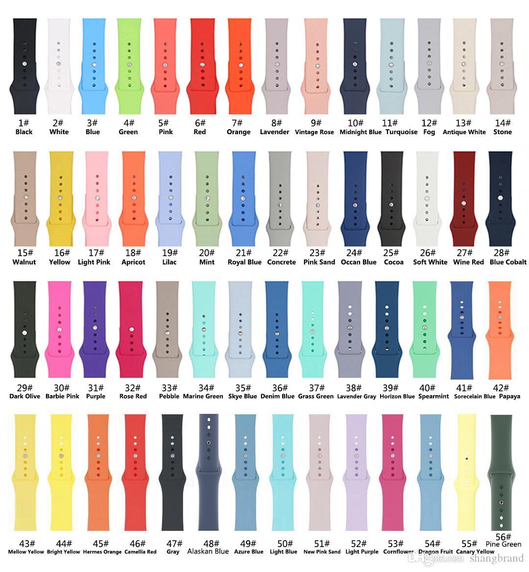 56Colors souple en silicone Montre-bracelet bande pour regarder la série 1 2 3 4 5 38MM 42MM 40MM 44MM VS Fitbit