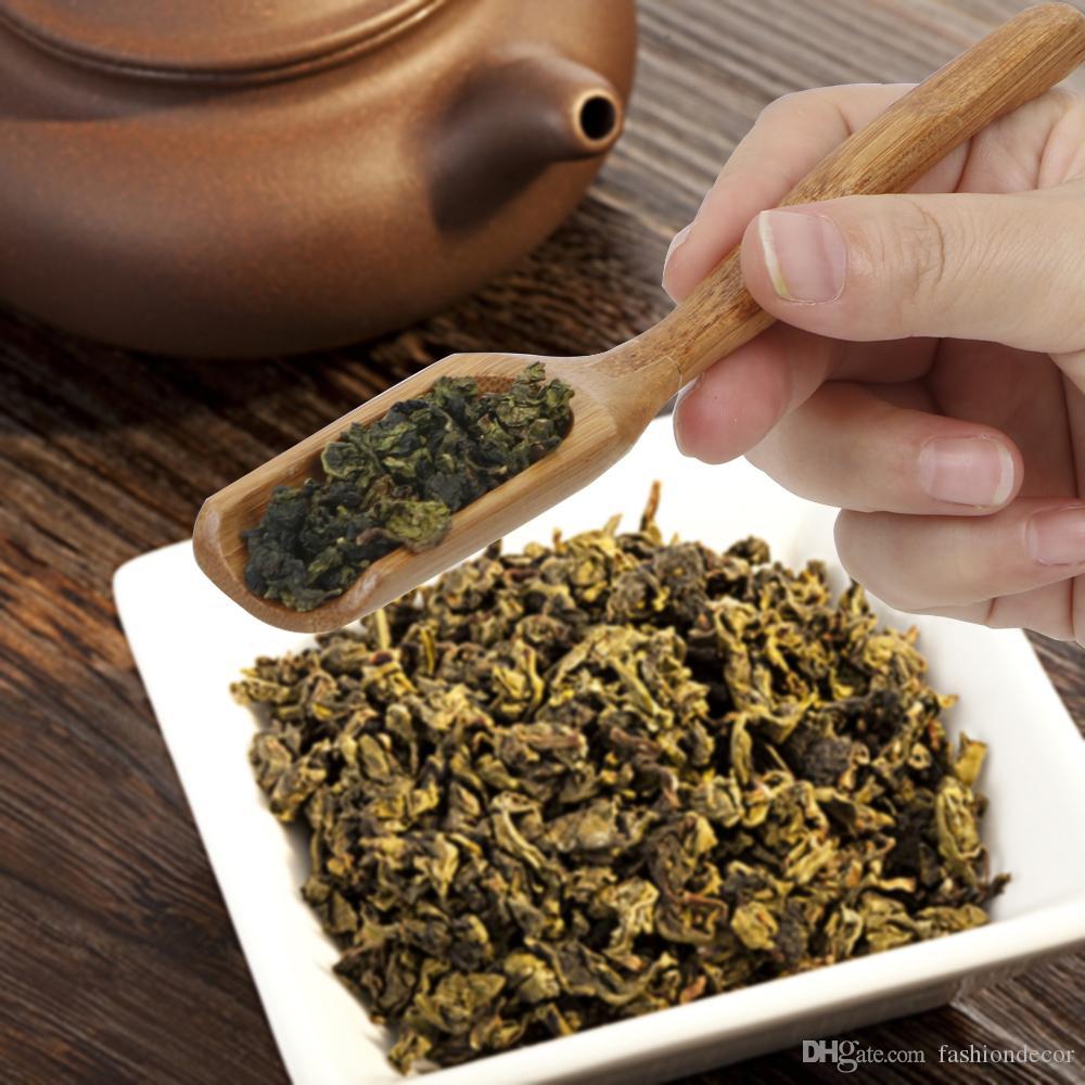 Cuchara de té de bambú natural cucharada del estilo retro de alta calidad para la salsa de té de miel Café Hojas de té Selector Selector titular