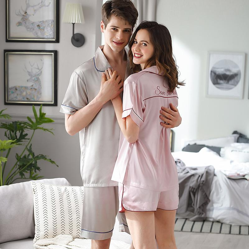 Summer Ice Silk Couple Sleepwear Short Sleeve Shorts Sets Satin Silk Thin Pajama Male Female Plus Size Simple Home Wear X9826