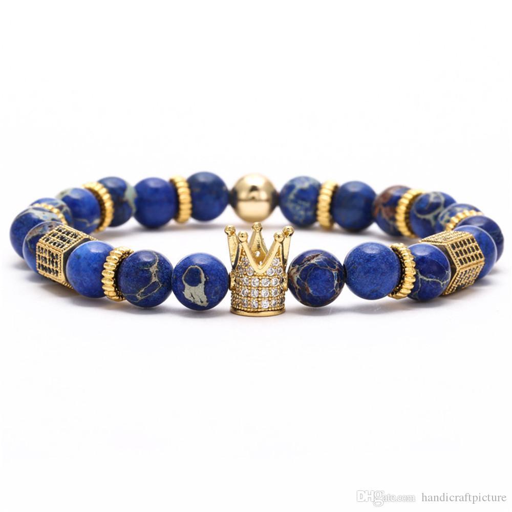 роскошь дизайнер ювелирных изделий мужских браслетов хип-хоп из бисера браслета с бирюзовым шаром ретро pouplar старых модами панк короны браслетами