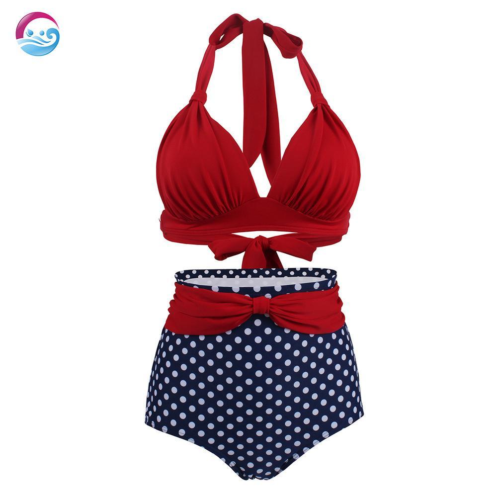 La impresión atractiva del sólido empuje Bikinis altura de la cintura del traje de baño traje de baño de las mujeres arriba del bikini traje de baño de la playa para señoras traje de baño del vendaje Bikini de Tankinis