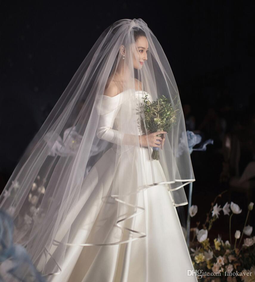 2019 Blusher 3 metros Velos de novia Largo Largo de capilla más barato Velos de novia de marfil blanco con peine 2 capas Veu De Noiva Cubierta de la cara