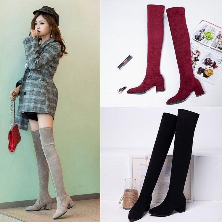 A metà coscia Stivali Donna Inverno a punta sopra il ginocchio Le donne alte e sottili, con spessore e pelle scamosciata elastico Stivali B10