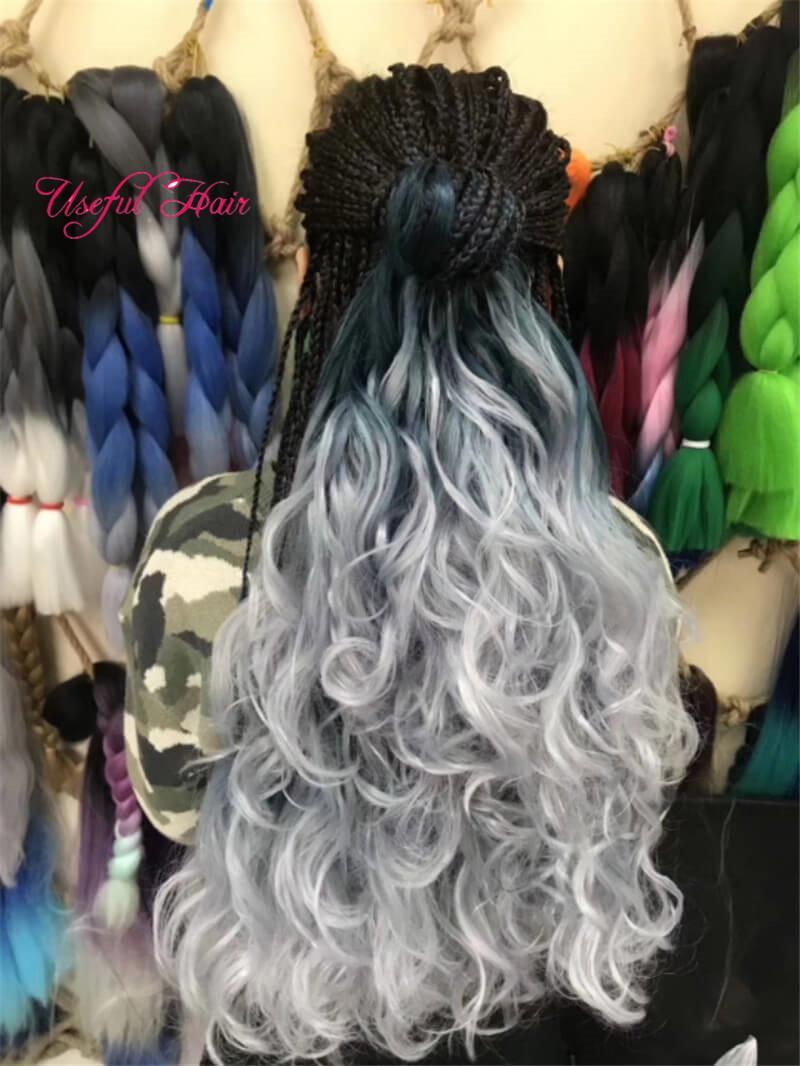 DIY geschweiften Bouncy Lange SEA Körper flicht Haar-Verlängerungen 24inch Crochet Geflechte Sea Körper synthetische Haar-Verlängerung Reine Ombre für Frauen