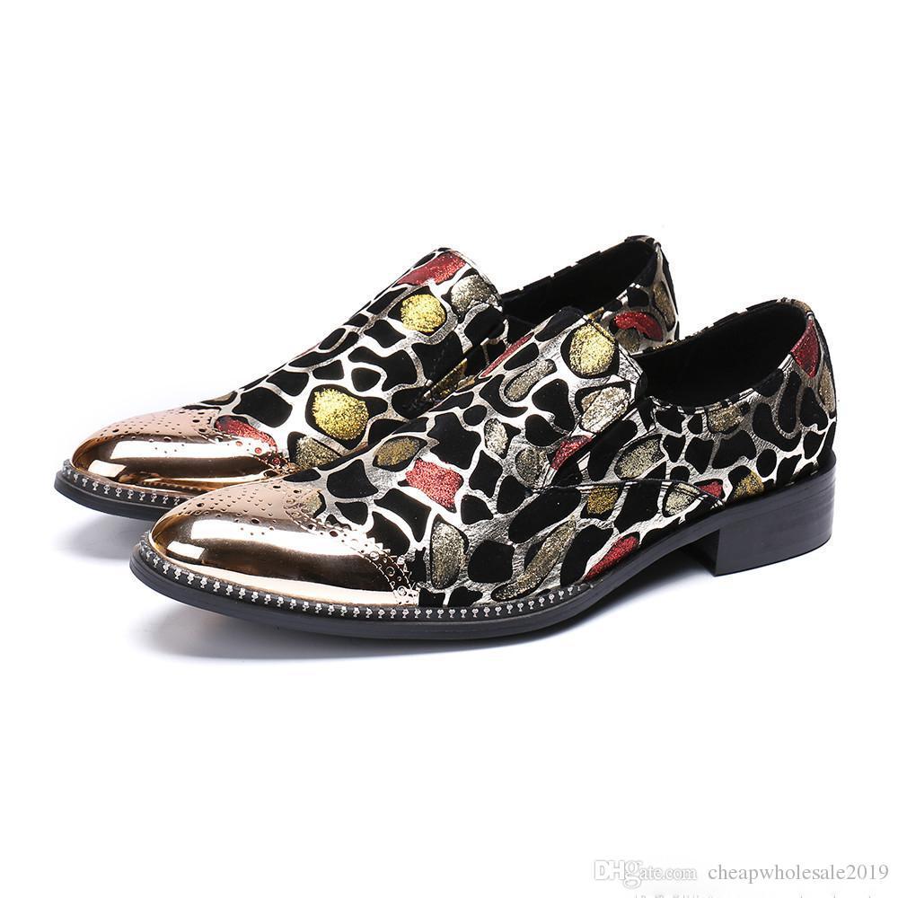 2019 Moda de Luxo Homens Sapatos De Metal Cap Toe Glitter Oxford Sapatos para Homens Sapatos De Vestido De Couro