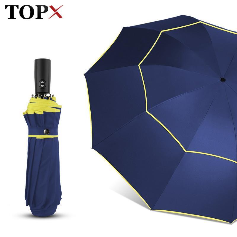 120 cm Totalmente Automático Duplo Grande Guarda-Chuva Chuva Mulheres 3 Dobrável Resistente Ao Vento Grande Guarda-chuva de Viagem de Negócios Guarda-chuva Dos Homens