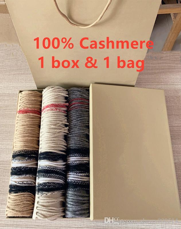 Mit Geschenkkasten Papierbeutel 2019 Winter-Frauen Luxuxentwerfer Schals High End 100% Kaschmir-Schal für Männer B Klassische karierte Tücher Schals