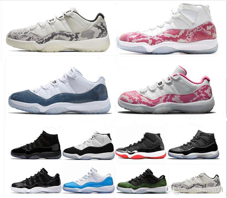 Розовый Серый змеиной 11s Мужчины Женщины Баскетбол обувь 11 Bred Navy Concord 45 Cap и платье Mens Trainer Спорт Кроссовки Размер 36-47