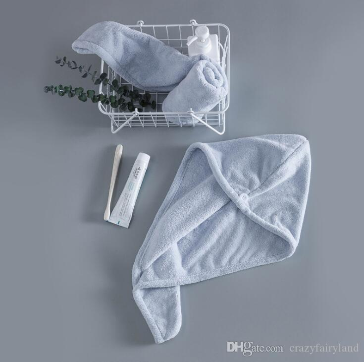Hair Towels Women Bathroom Super Absorbent Quick-drying Microfiber Bath Towel Solid Color Hair Dry Cap Towel 25x65cm 4 Colors Gifts