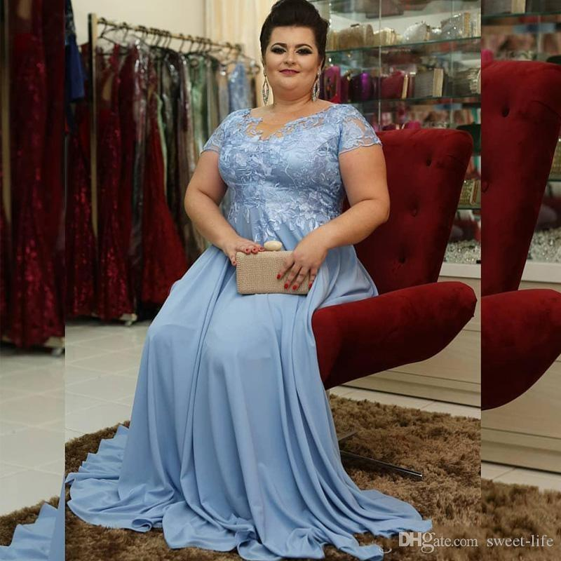 Modern Blue Plus size Mother of the Bride Groom Dresses 2020 Chiffon Short Sleees Long A Line Evening Formal Gown