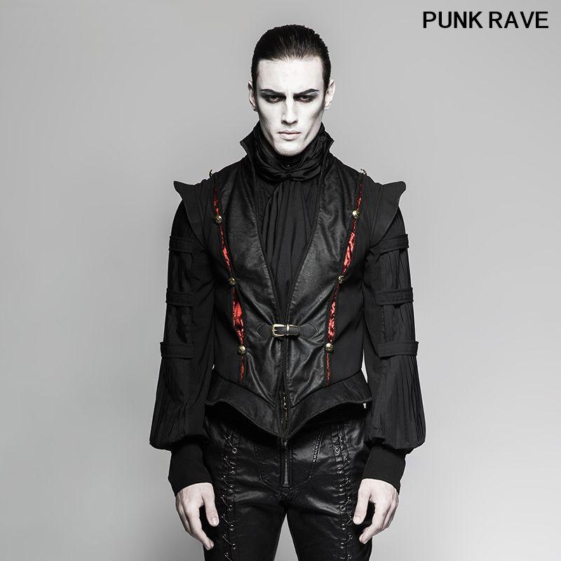Steampunk Moda PU botões de couro curta colete clássico gótico do século Retro Preto Luxury Men Vest Punk Rave Y-736