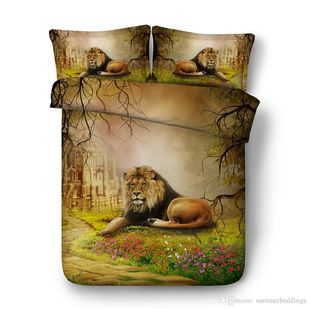 3D floral Bedding Sets Brown Lion Boys Girls 3 Pieces forest Duvet Cover Set Comforter Quilt Bedding Cover Castle duvet
