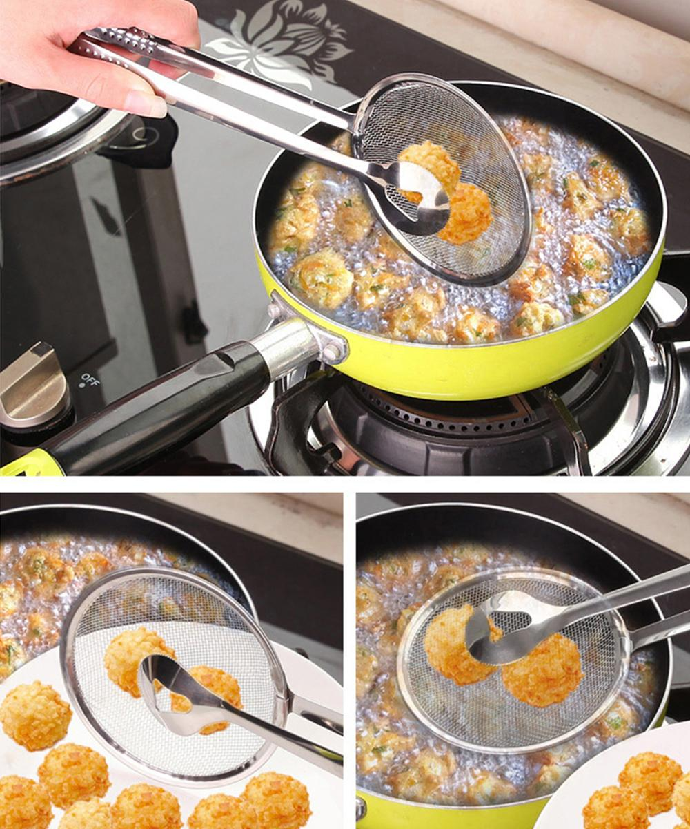 Stainless Steel Filter Spoon Kitchen Oil-frying Filter Basket With Clip Multi-functional Kitchen Strainer Accessories Tools Wholesale