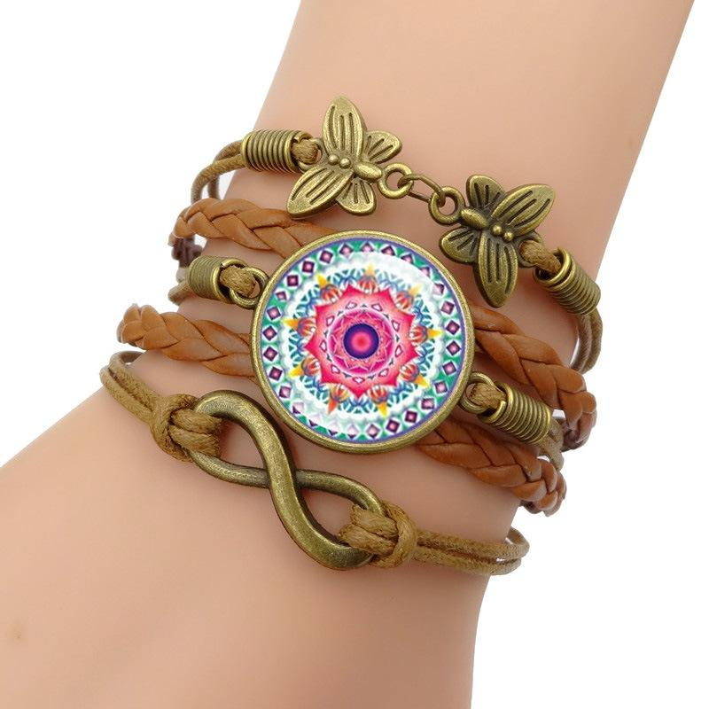 Buddhism Jewelry With Bronze Plated Mandala Flower Pattern Infinity Love Leather Charm Bracelet Bangle For Women Gift