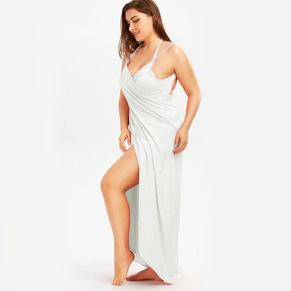 6077bf35db3 2018 New Plus Size Beach Cover Up Wrap Dress Bikini Swimsuit Bathing Suit  Cover Ups Robe