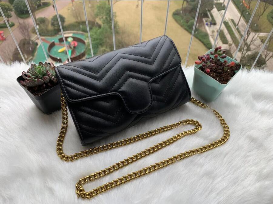 Ünlü Kadın Omuz çantası Pu deri Moda Altın zincir çanta Kadın Çapraz vücut Saf renk Kadın kadın çanta Bayanlar çanta 21cm H332