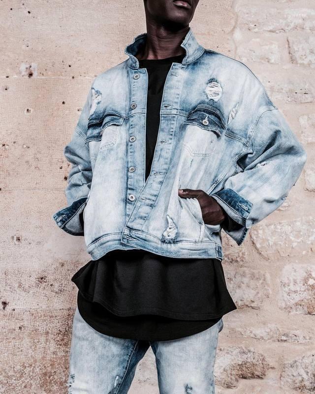 Yüksek Boy Sokak Erkek Mavi Mont Hombres Denim Yırtık Ceket Ceket Giyim IMOVQ