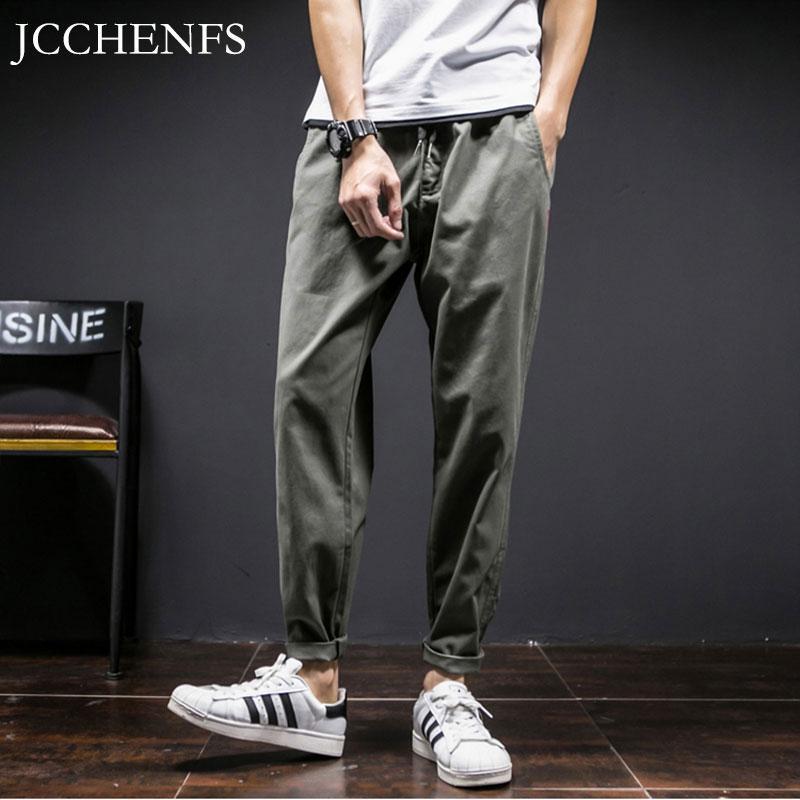 Erkek pantolon jcchenfs varış şık erkekler rahat düz elastik bel büyük boy erkek koşu marka giyim pantolon