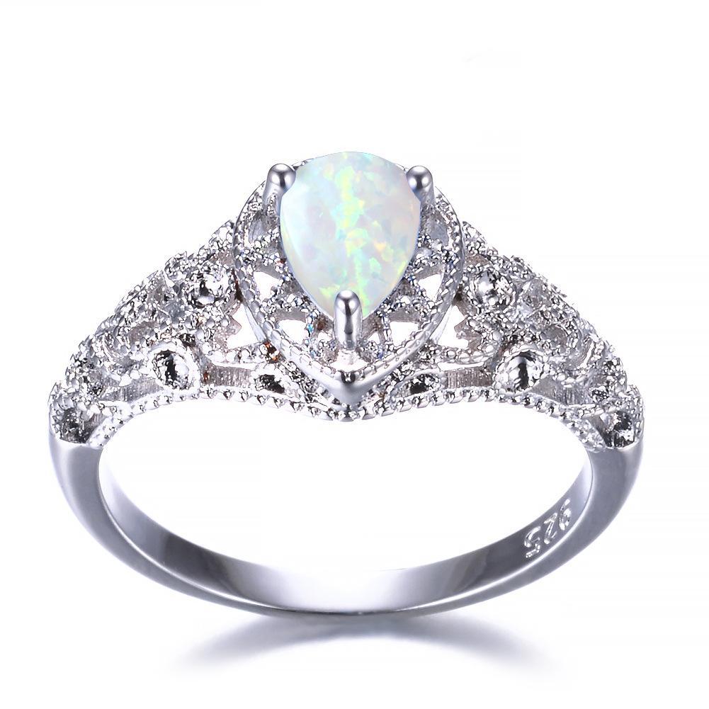 5 pièces Luckyshine S925 argent sterling femmes Opale Anneaux Bleu Blanc Naturel Mystic arc Topaz mariage Engagemen Anneaux # 7-10