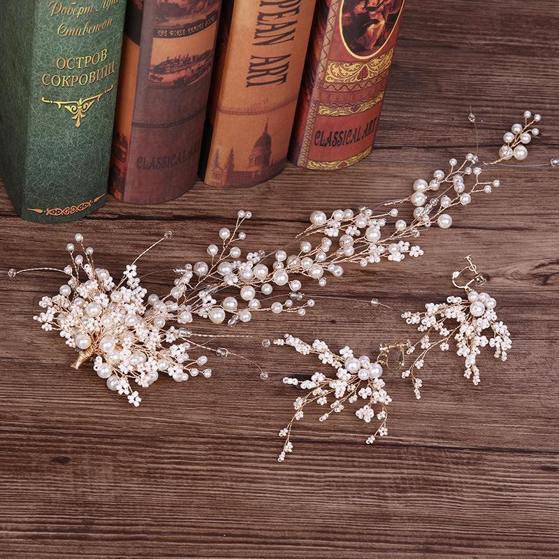 20 parti per lotto Gioielli da sposa coreana orecchini di perle fascia dei capelli lunghi impostato fiera fascia da sposa abito da sposa copricapo