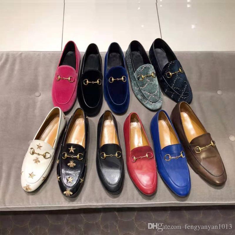 las mujeres planas de los zapatos diseñador del vestido 100% de cuero hebilla de metal de lujo zapatos casuales los hombres del alfabeto de terciopelo clásico Arrolla Lazy tamaño de los zapatos del barco 34-45