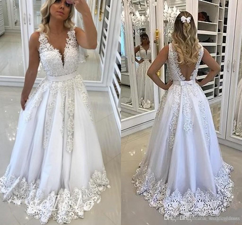 2019 Blanco Árabe Vestidos de baile Ilusión Blusa Pura joya Cuello Tren Apliques Vestidos largos de fiesta de noche formales batas de bal