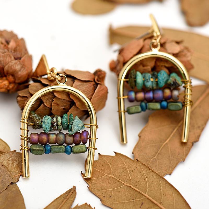 Fashion-Donne della miscela di colore della pietra naturale Bead Orecchini in lega di zinco oro Forma geometrica Gioielli Orecchini