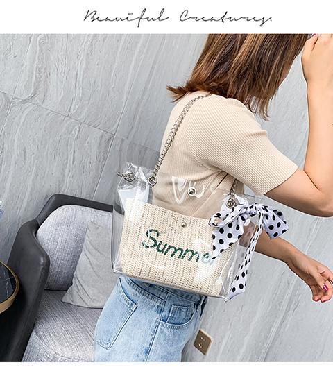 Соломенная сумка, двухсекционный мешок, прозрачный мешок, белый / хаки, пляжная водонепроницаемая сумка, дорожная сумка
