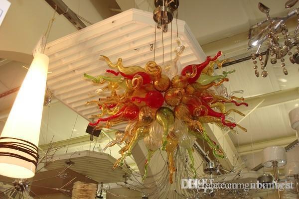 Art déco en verre Matériau LED Light Chandelier Multi Color Blown en verre de Murano Pendentif Lampes pour Home Hôtel Bar Bureau Décoration