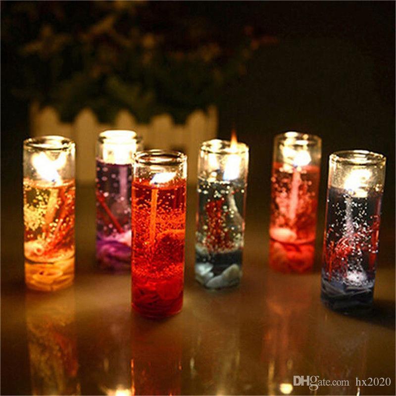 Hohe Qualität Aromatherapie Smokeless Kerzen Ozean Schalen Gelee ätherisches Öl Hochzeit Kerzen romantische Duftkerzen Farbe Random ST128
