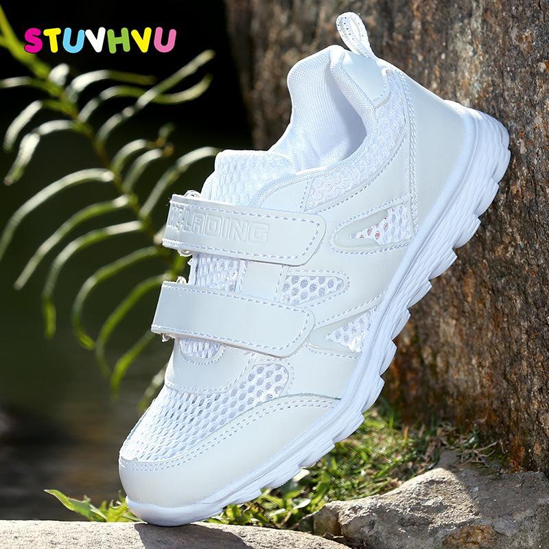 2018 nuove ragazze scarpe sportive da corsa sneaker per bambini maglia comfort morbido ragazzi sneakers traspiranti scuola studente scarpe bianche Y19062001