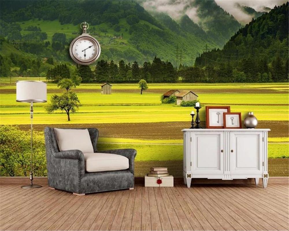 Gewohnheit irgendeine Größe 3D Wallpaper Schöne Landschaft am Fuß des Berges Wohnzimmer Schlafzimmer Wandbespannung HD Wallpaper