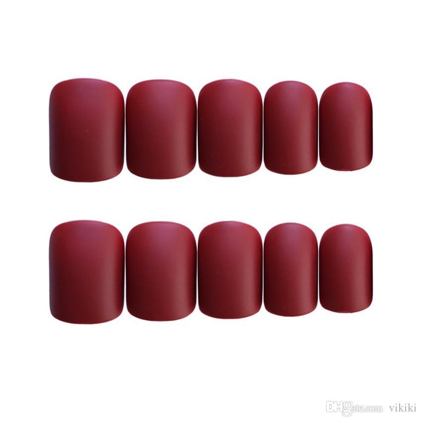 여성을위한 24 피트짜리 손톱 매니큐어 패치 라운드 헤드 가짜 손톱 프랑스어 손톱 스타일