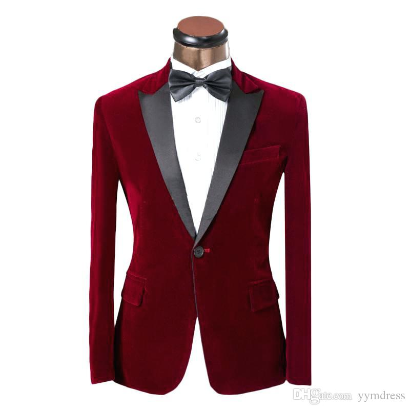 Burgundy Corduroy Groom Suits 2019 One Button Peaked Lapel Slim Fit Man Suit For Prom Wedding Tuxedos (Jacket+Bow)