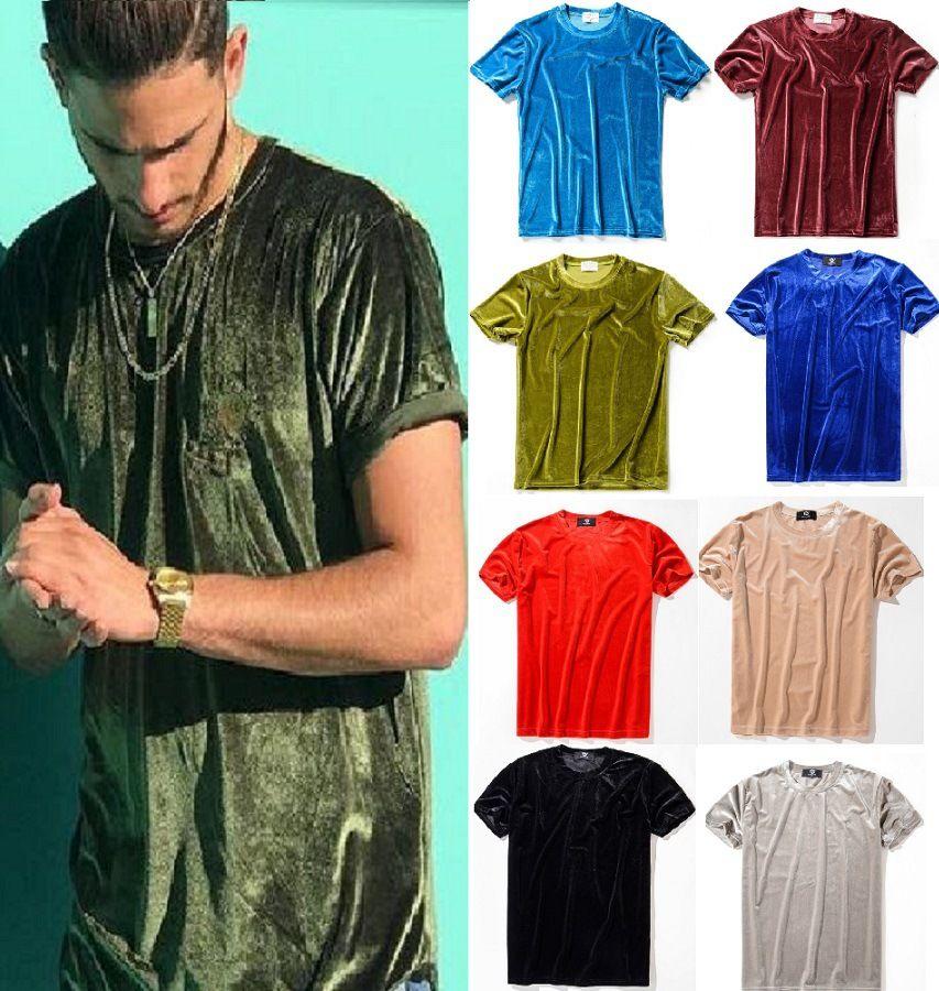 REAL 사진 INS 핫 남성 2019 여름 남성 디자이너 T 셔츠 벨벳 T 셔츠 라운드 넥 코튼 반팔 남성과 여성 T 셔츠 10Colors