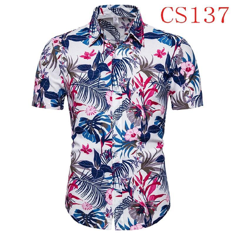 Men Shirt Summer Fashion Männer beiläufige Knopf Hawaii-Druck-Strand Short Sleeve Quick Dry Top Bluse Hawaii-Shirt der Männer Cotton