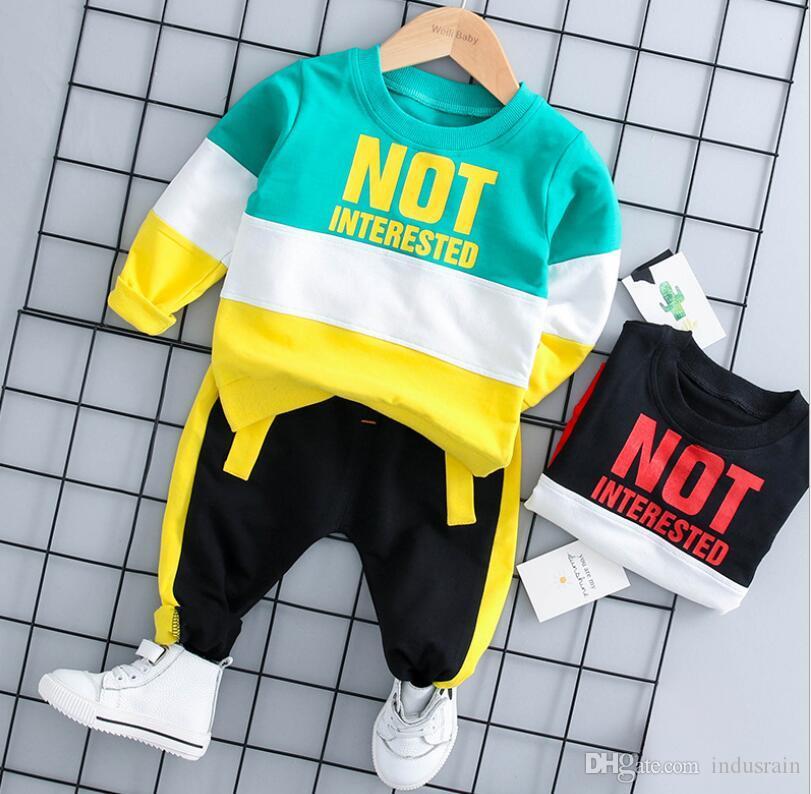 2019 Frühling Herbst Baby Mädchen Jungen Kleidung Sets Säuglingskleidung Anzüge Casual Sport Regenbogen T-shirt Hosen Kind Kind Kleidung Anzüge