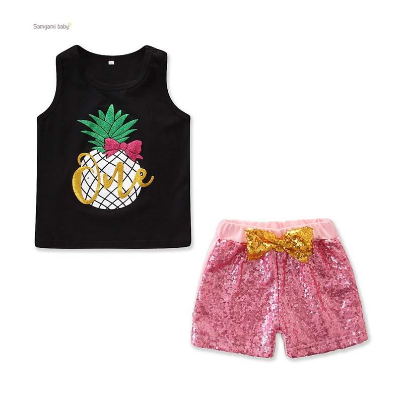 2019 Sagamibaby Summer Girls clothes New vest Suit Cute Pineapple Printing top+ Sequined Shorts Fashion Outfits Casual Sets Clothing C52