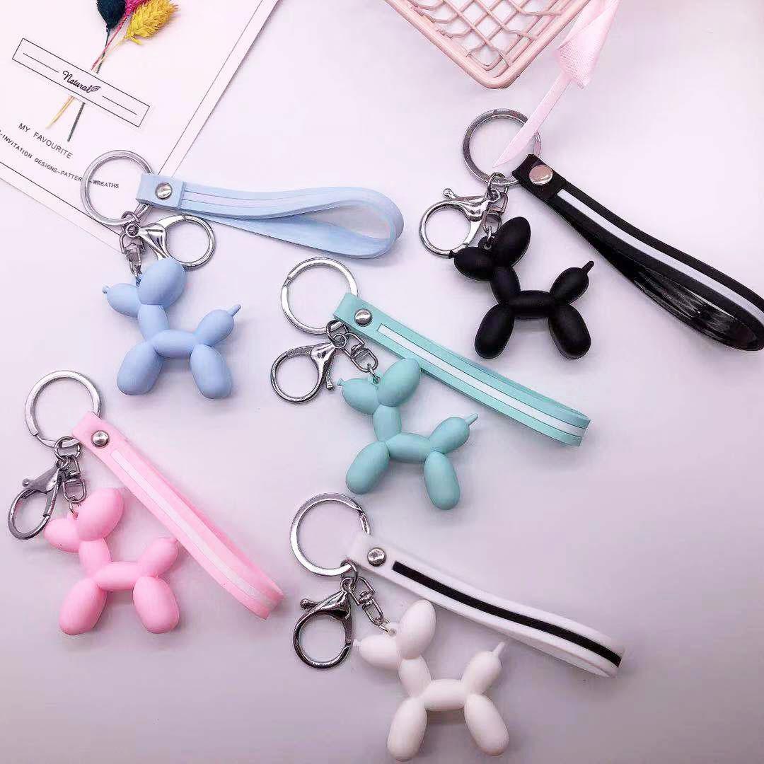 Kadınlar Anahtarlık Araba Anahtarlık Çanta kolye Takı için Karikatür Balon Köpek Anahtarlık Renkli Yumuşak kauçuk PVC Güzel Köpek Anahtarlık