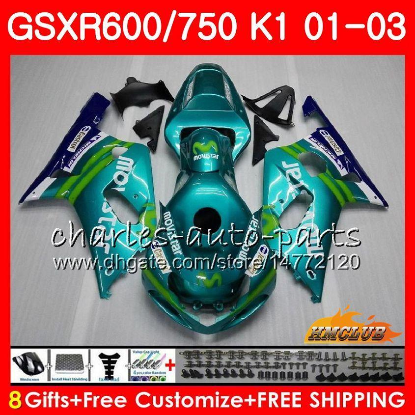 Cuerpo de 8Gifts para Suzuki GSXR600 GSX R750 K1 GSXR-600 GSX-R750 4HC.29 GSXR750 GSXR 600 750 01 02 03 2001 2002 2003 Movistar Green Fairing Kit
