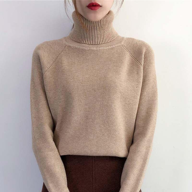 Februaryfrost Automne et Hiver Col haut épais en vrac en vrac couleur Pull serré à manches longues Pull Shirt Fashion Designer