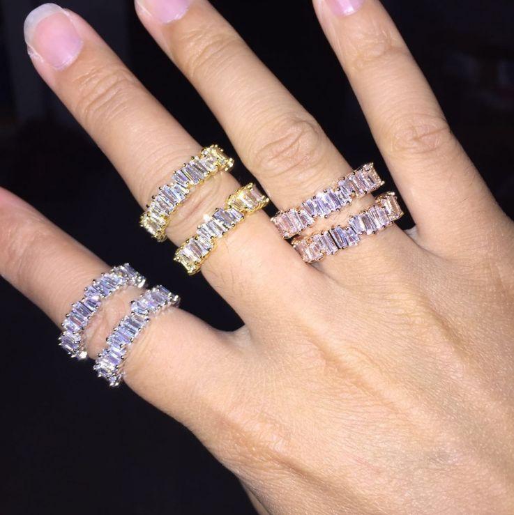 Victoria Wieck Vintage Modeschmuck 925 Sterling SilverRose Gold Füllen Drei Farbe Unregelmäßigkeit CZ Frauen Hochzeit Band Ring für Lovers