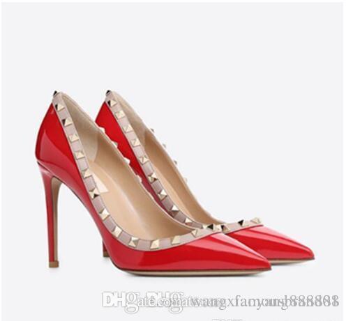 Мода дизайнер Новая леди заклепки каблуки, заостренные кожаные сексуальные банкетные платья каблуки + коробка, размер 35-42