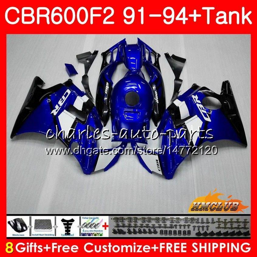 Body + réservoir pour HONDA CBR CBR 600 600F2 CBR600FS FS F2 91 92 93 94 40HC.8 600CC CBR600 F2 CBR600F2 1991 1992 1993 1994 bleu usine Carénage