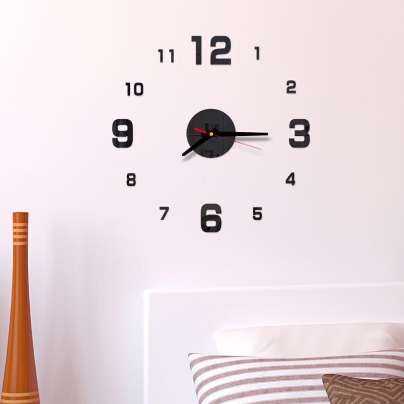 2019 Современный дизайн Rushed Кварцевые Часы Мода Часы Зеркало Наклейка DIY Гостиная Декор Новое Прибытие 3D Настоящие Большие Настенные Часы