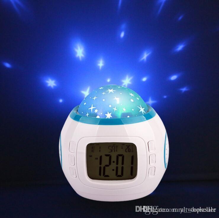 ملون الموسيقى النجوم المرصعة بالنجوم السماء LED العرض مع المنبه التقويم ميزان الحرارة ليلة عيد الميلاد ضوء ساعات الجدول