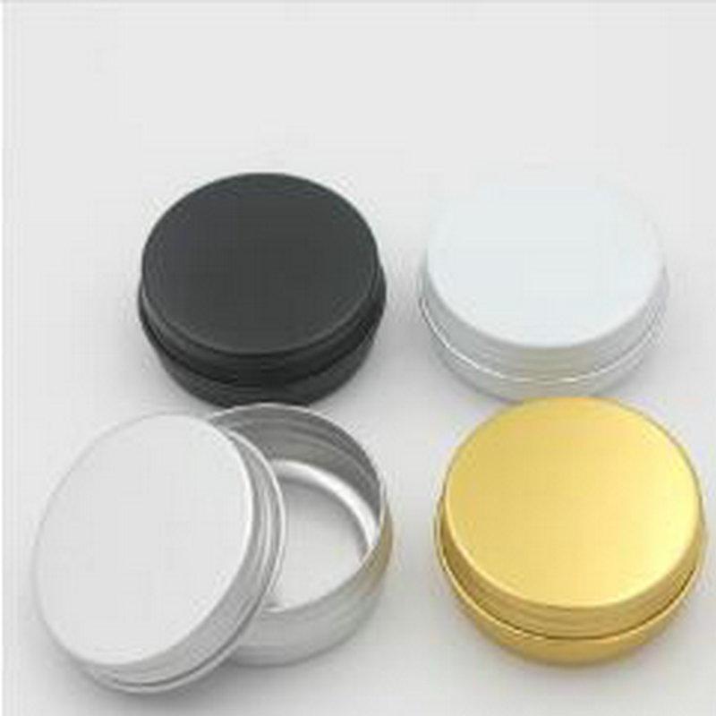 1oz / 30ml leeren Aluminium kosmetische Behälter Schraubdeckel Rundes Aluminium-Glas-Dosen Make-up leeren Lippenbalsam kosmetische Gläser